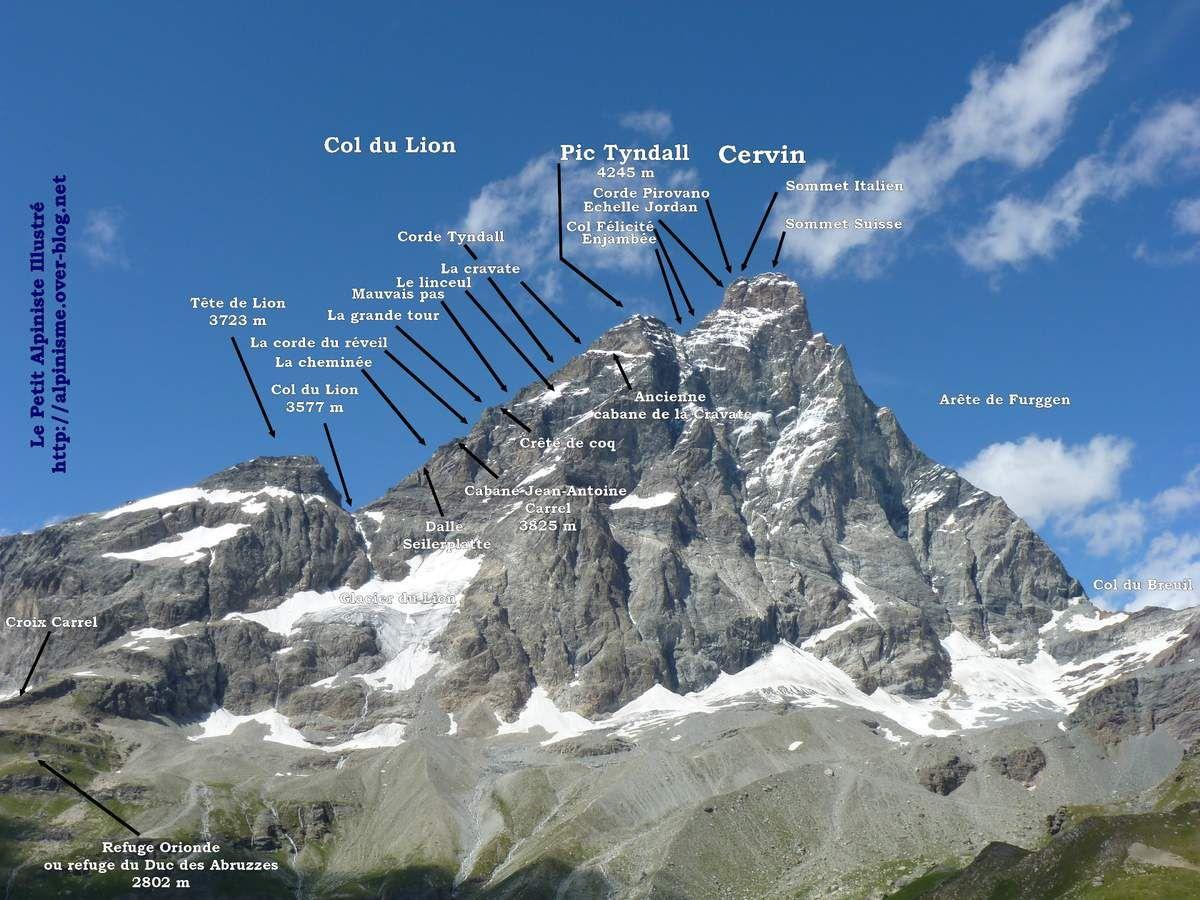 Topo Photo Cervin Arete Du Lion 4478 M Le Petit Alpiniste Illustre By Apoutsiak Cervin Alpinisme Grand Tour