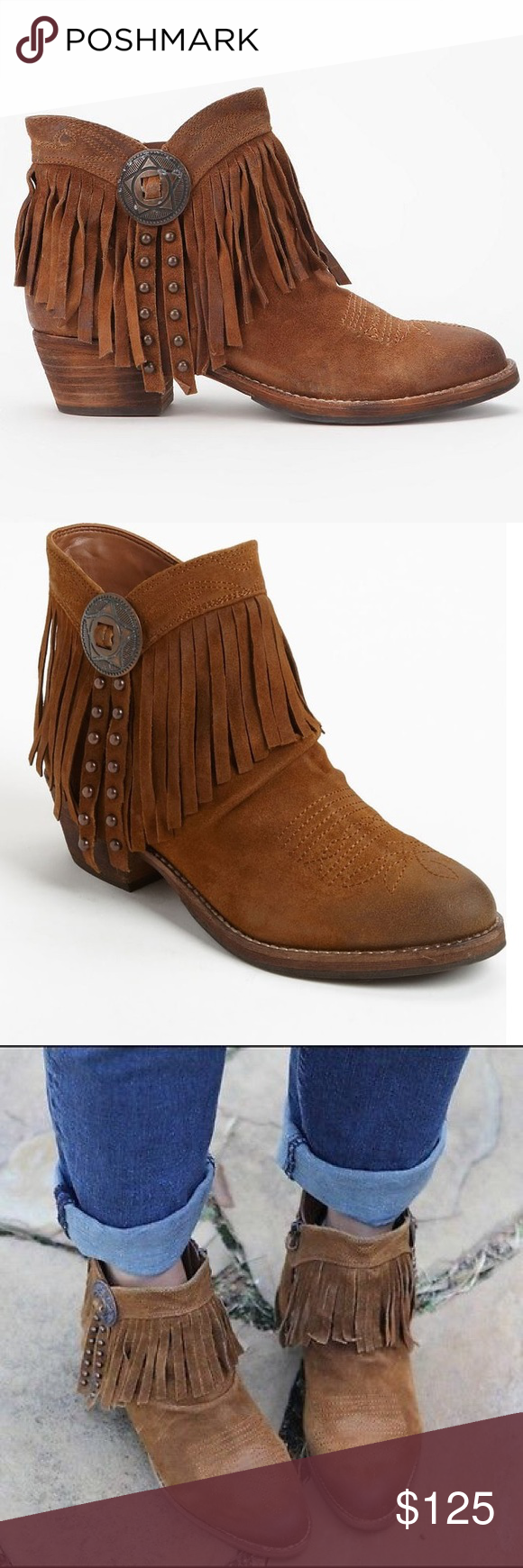 acb4011a2a19f Sam Edelman new Sidney fringe ankle booties size 9 Brand new item! Never  worn! Sold out at Nordstrom. Fringe and studs marshall Western inspiration  into a ...