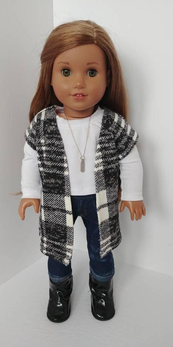 Modern 18 inch doll clothing. Fits like American girl doll clothes. 18 inch doll clothes. Cardigan sweater