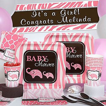 brown and pink baby shower decorations with zebra print, giraffe, Baby shower invitation