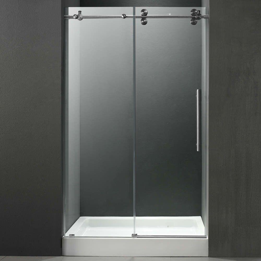 Bathroomframeless Sliding Glass Shower Doors With Stainless Steel