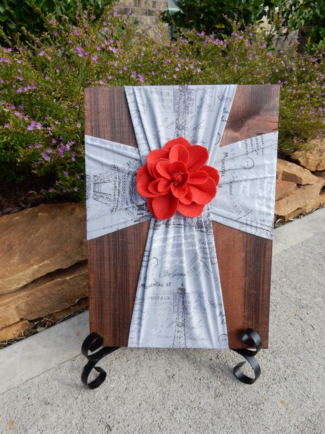 Eiffel Tower Fabric Cross on Wood, Decorative Crosses, Unique Wall ...
