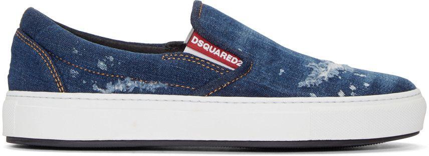 Dsquared2 Indigo Denim Slip-on Sneakers