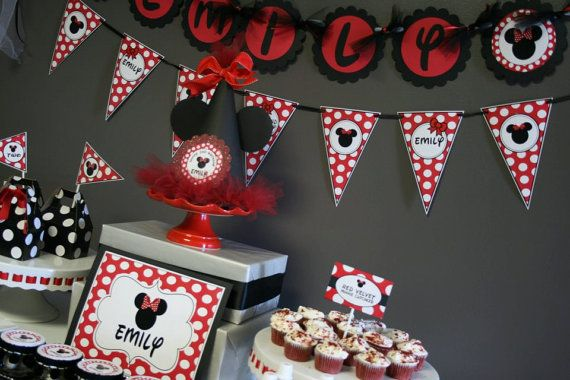 Red Black White Polka Dot Minnie Mouse Birthday Party Ideas Red