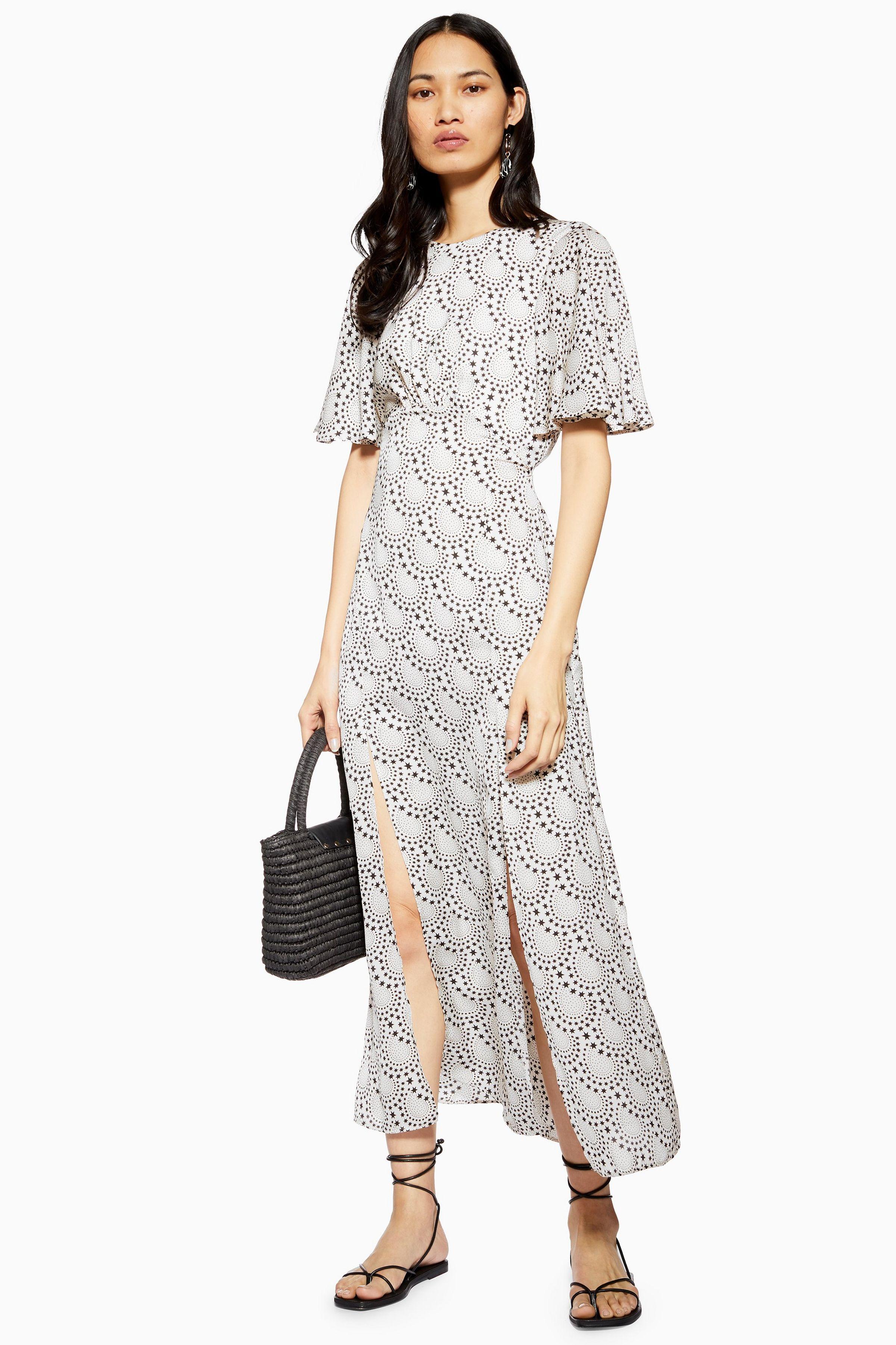 d259e06bb AUSTIN Star Print Angel Sleeve Midi Dress in 2019