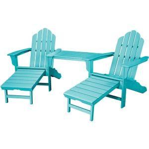 Hanover Rio Aruba Blue 3 Piece All Weather Plastic Patio Lounge Adirondack Chair Set With Ottoman Rio3p Outdoor Bistro Set Outdoor Furnishings Adirondack Chair