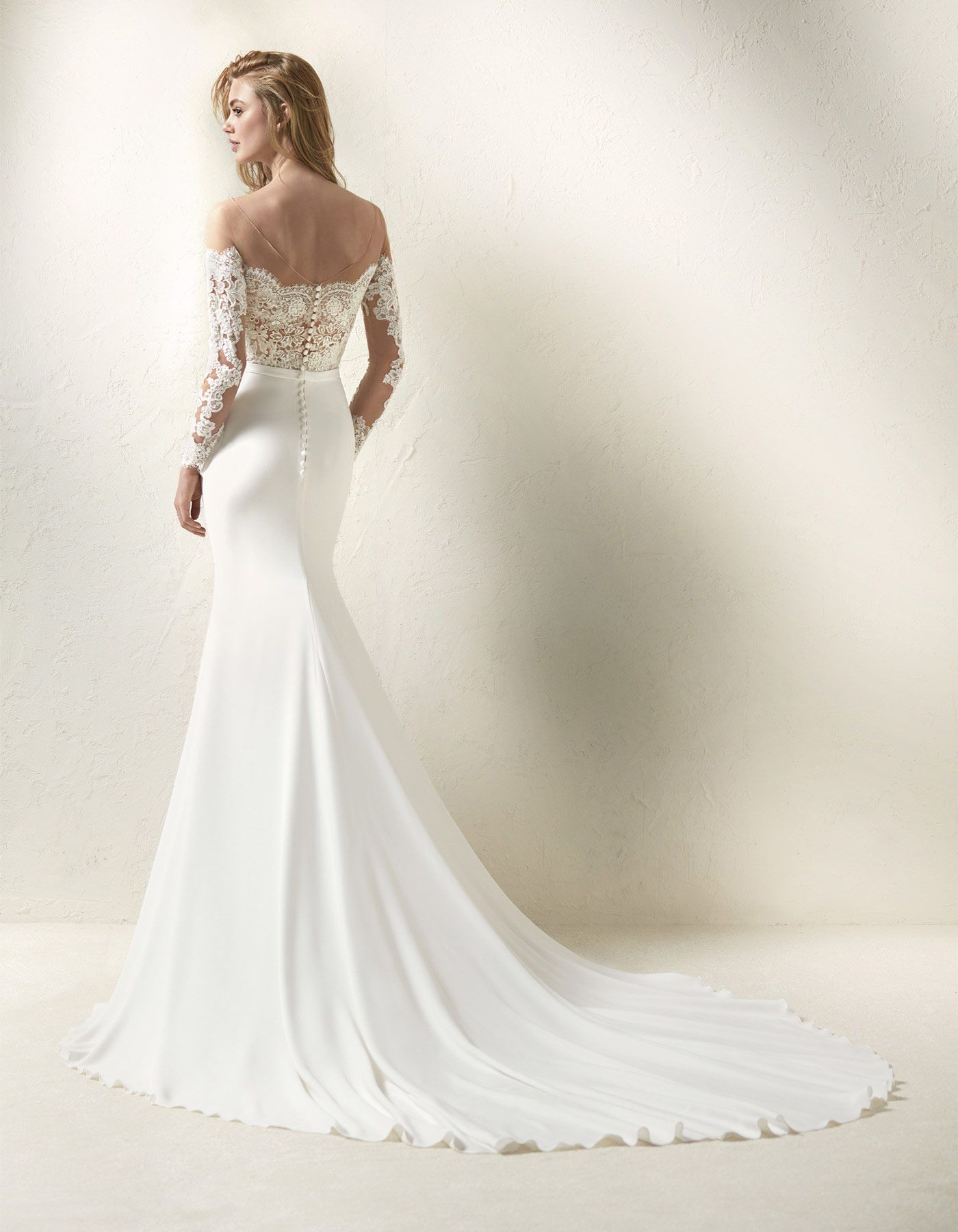 ad8fb26c1ad Off the shoulder lace wedding dress