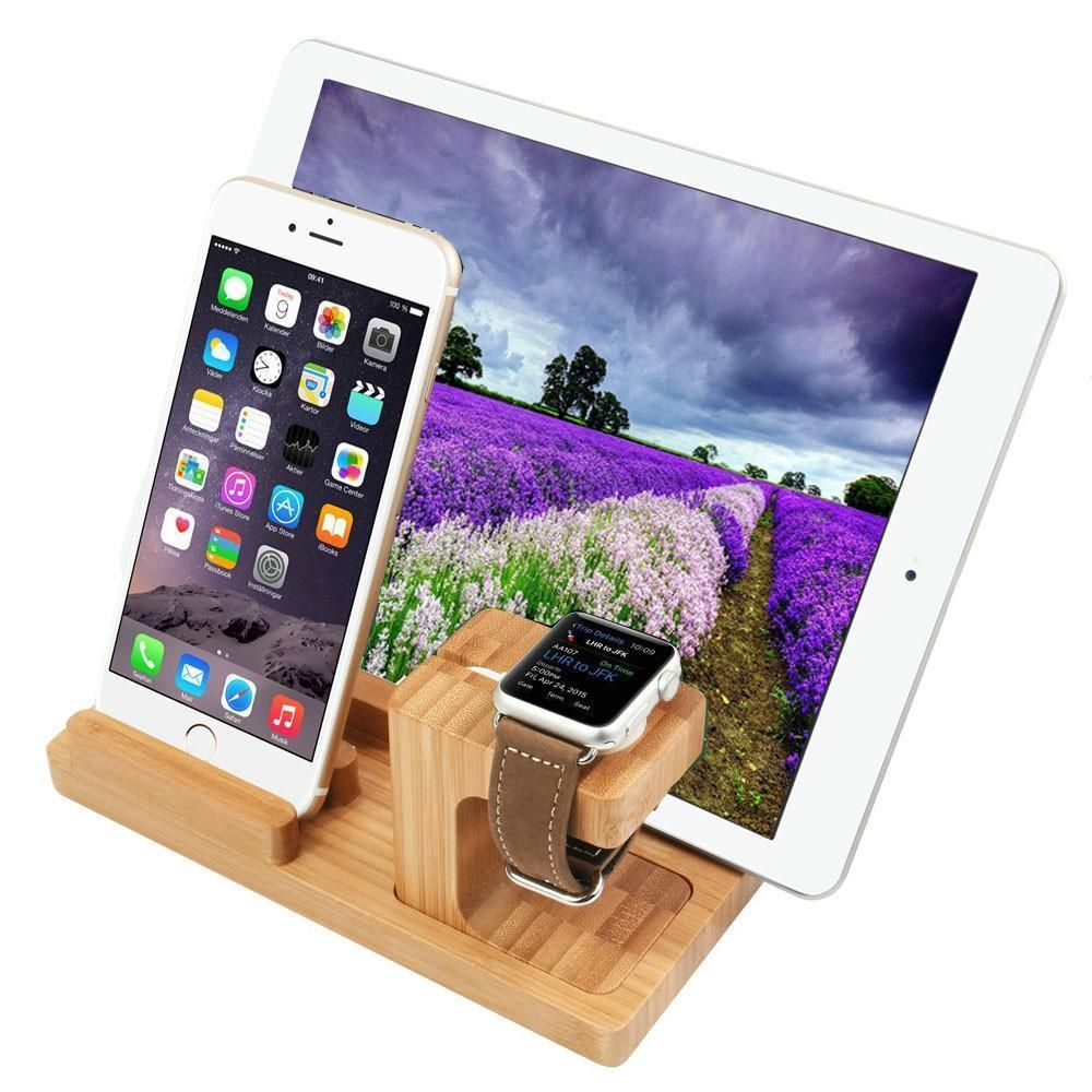 Bamboo tech docking stand organizer charger charging