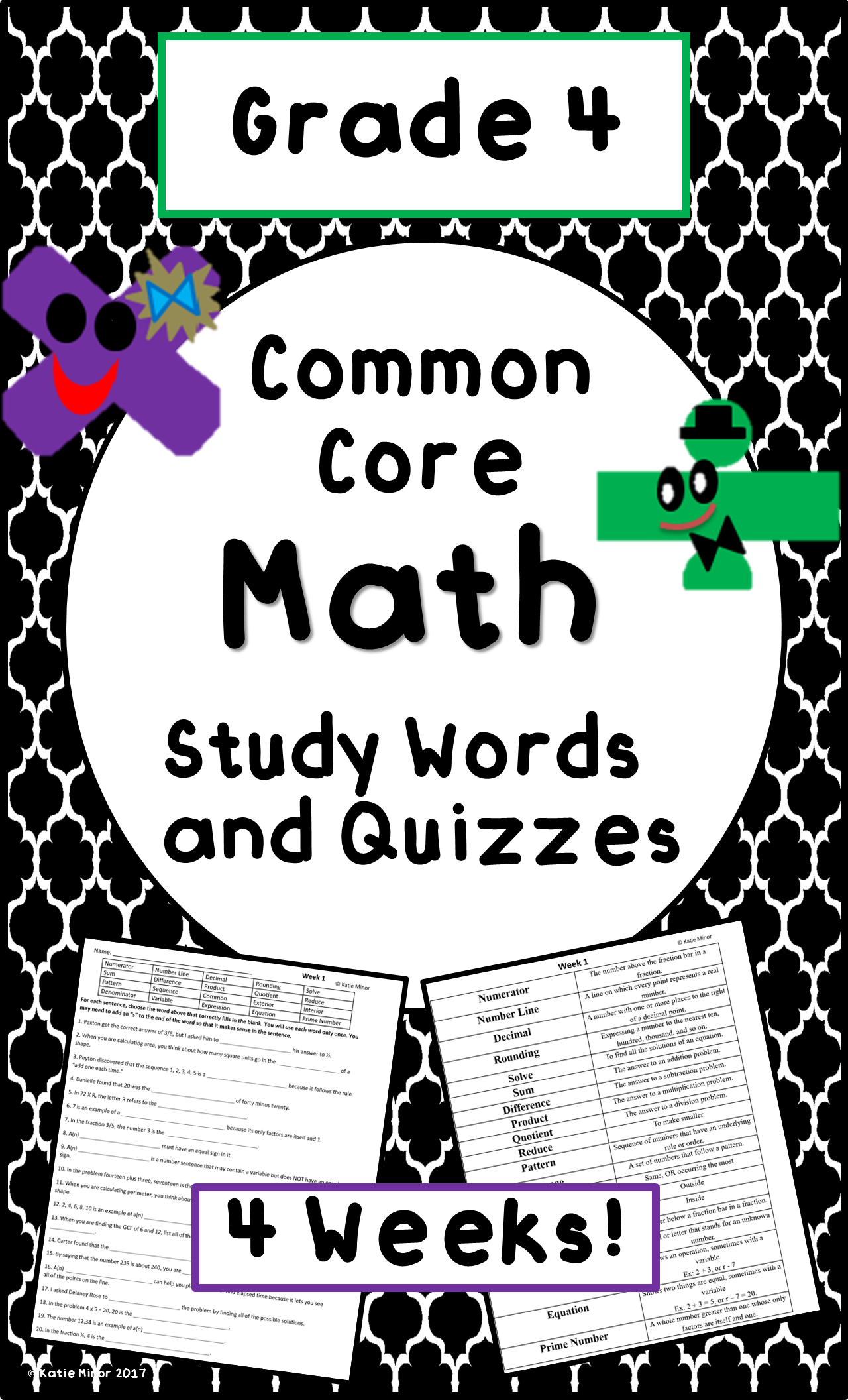 4th Grade Test Prep End Of Grade Math Vocabulary And Quizzes Common Core Eog