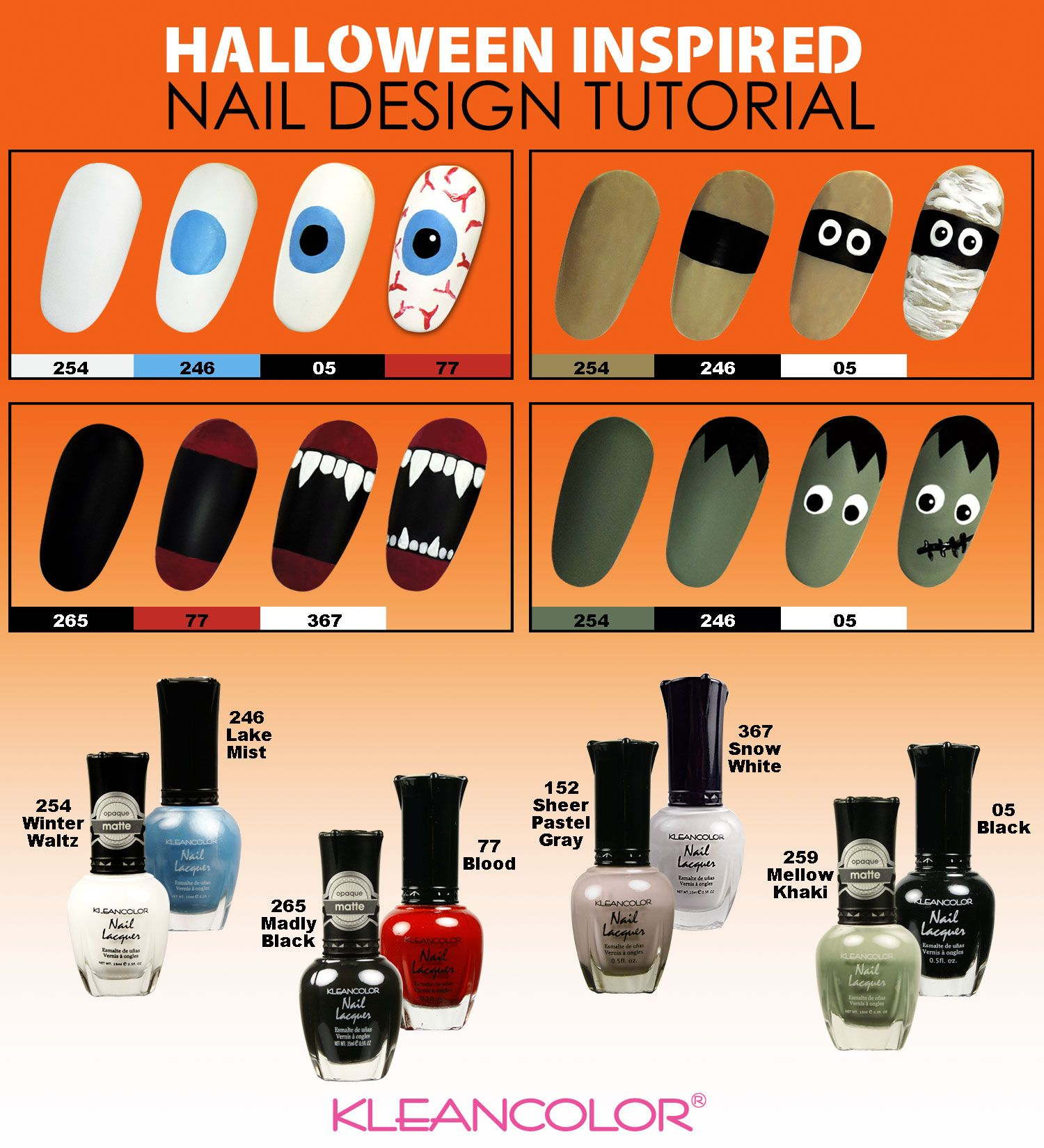 The countdown to Halloween begins! Easy steps for spooky and cute nail looks! Try them if you dare.  #Halloween #Kleancolor #NailArt #NailDesign #HalloweenNails #Boo