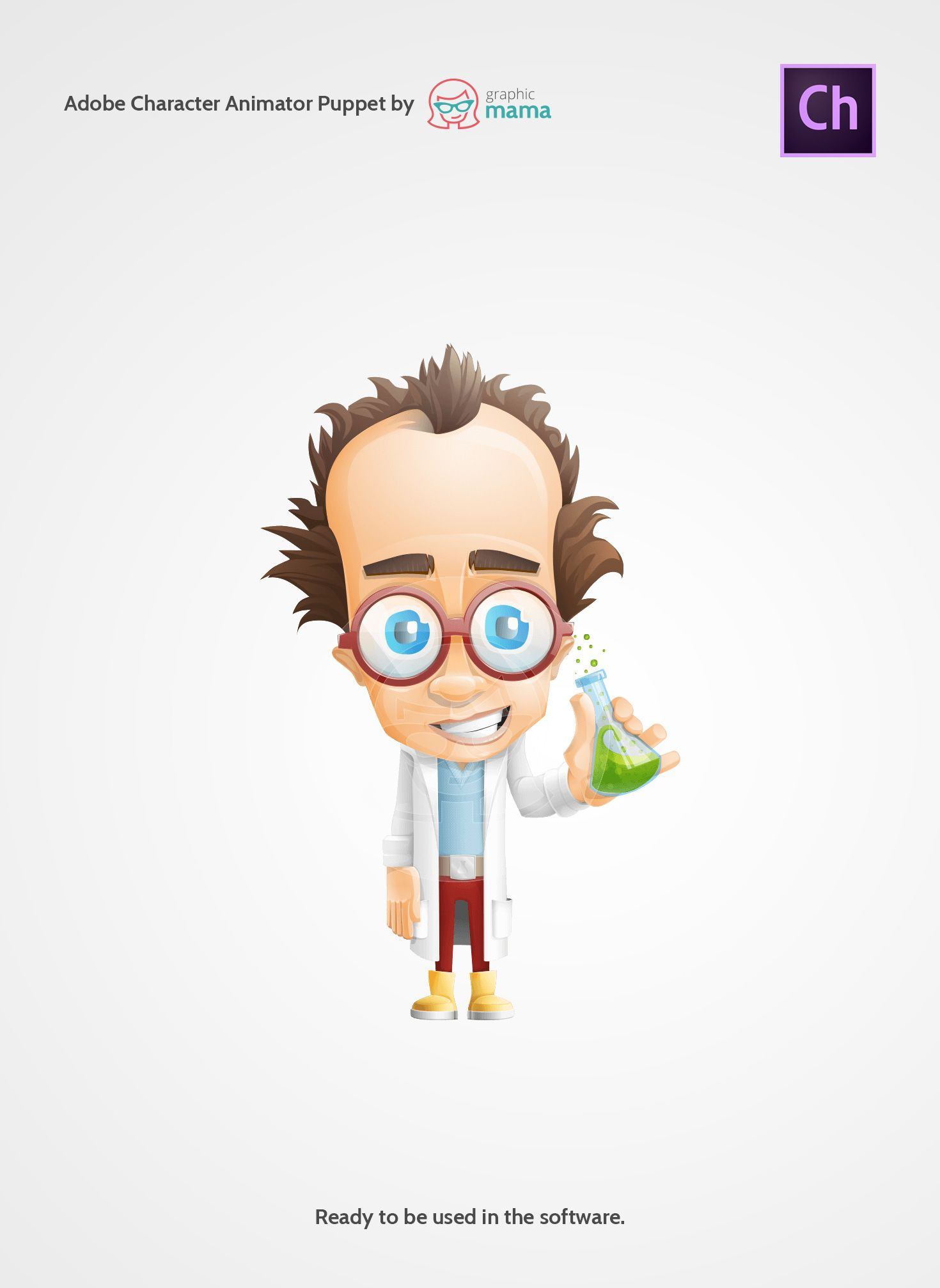 a mad scientist cartoon character prepared as an adobe character