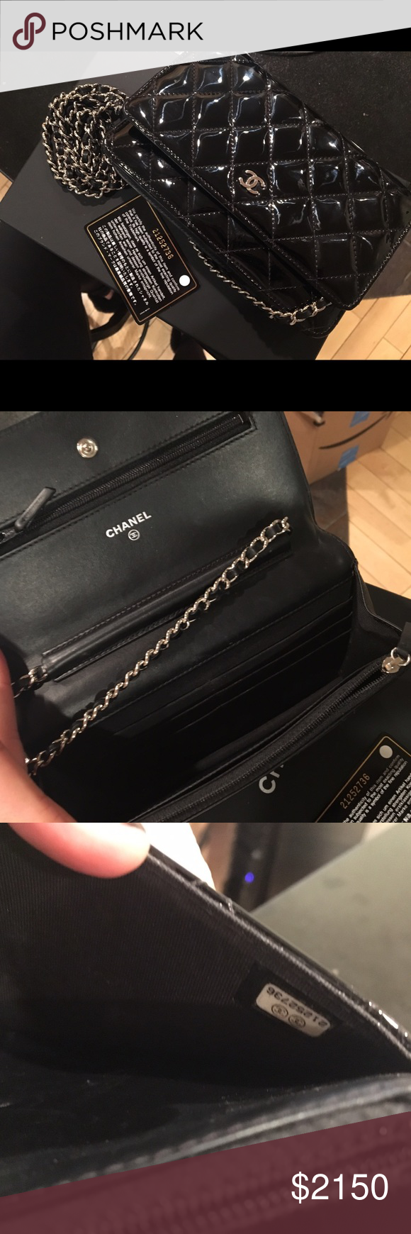 0909d4d1a915fe AUTHENTIC Black Chanel WOC Black Patent Lightly used AUTHENTIC Chanel WOC ( wallet on chain) in black patent leather with silver hardware.