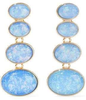 Kenneth Jay Lane Gold Tone Stone Clip Earrings