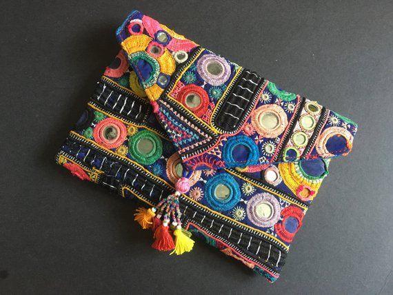 73dad11ec8 SALE - Vintage gypsy clutch bag, tassels bag, ethnic handbag, tribal handbag,  colorful handbag, hand