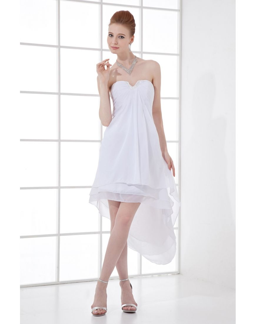 Mini white wedding dress  Chiffon Senza Spallini Puro Bianco Mini Vestito Da Cocktail in
