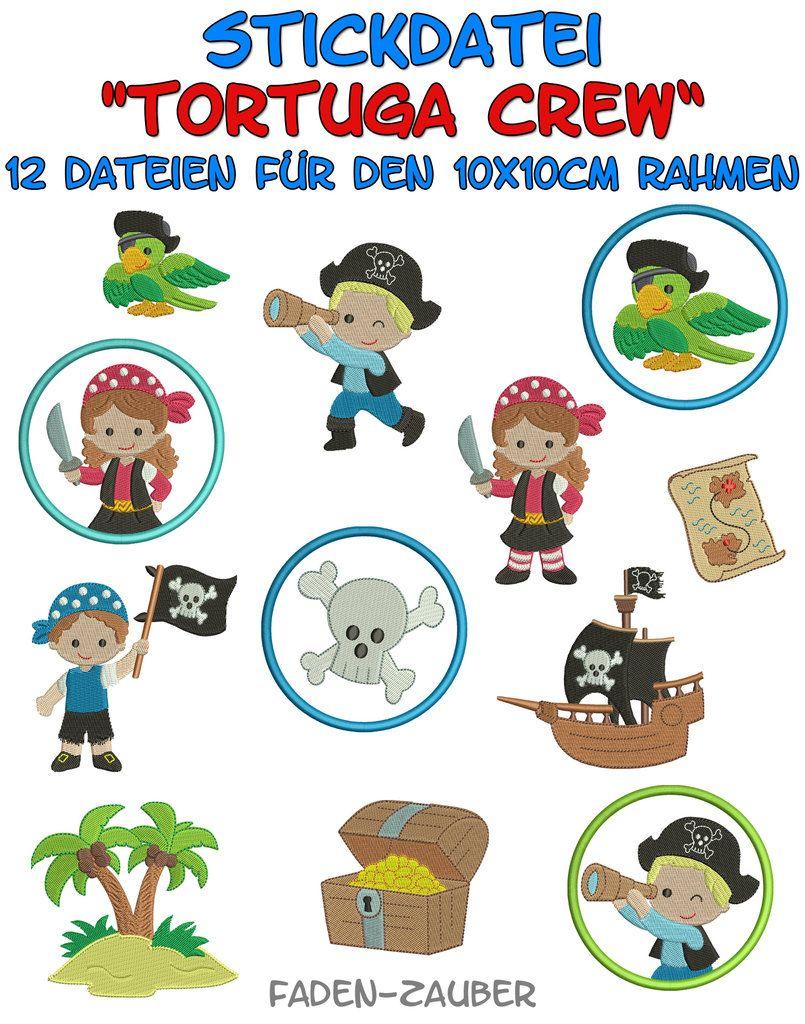 Tortuga Crew Piraten - Stickdatei-Set für den 10x10cm Rahmen