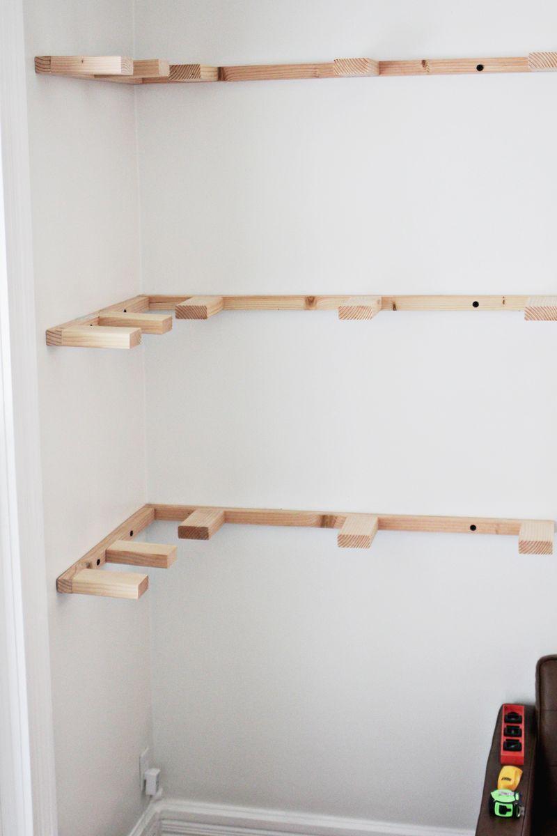 Diy floating shelves progress click through for more for Diy shelves pinterest