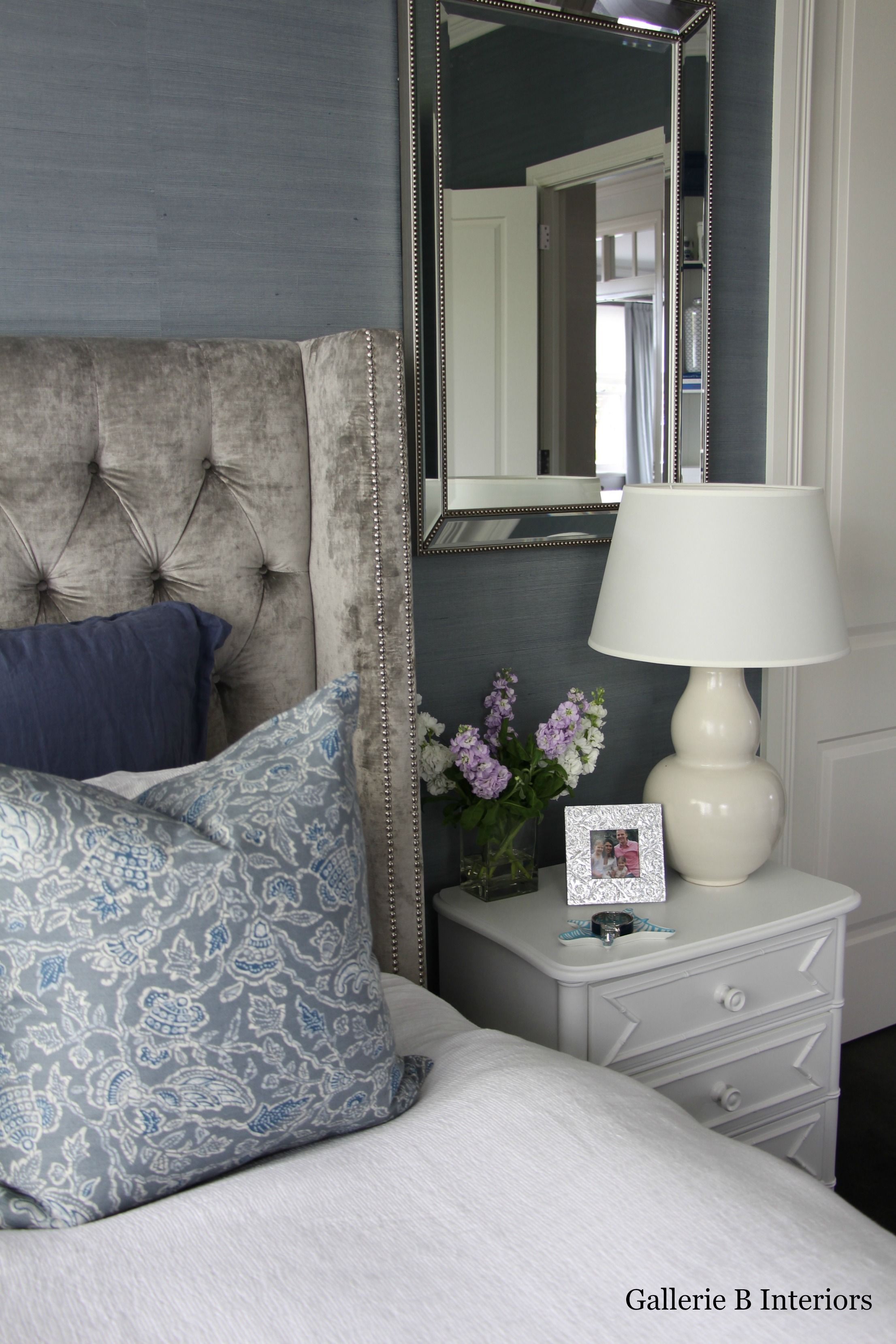 My Master Bedroom With Grey Velvet Studded Bedhead And Blue