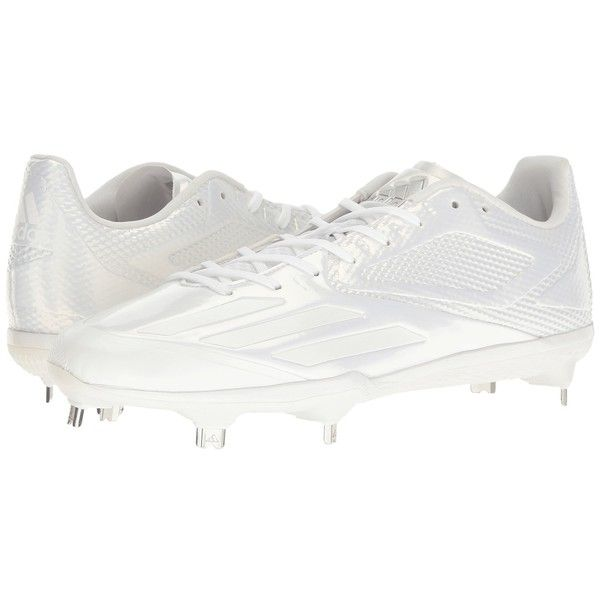 adidas Adizero Afterburner 3 (White/Silver Metallic) Men's Cleated... ($100) ❤ liked on Polyvore featuring men's fashion, men's shoes, mens lace up shoes, adidas mens shoes, mens baseball shoes, mens cap toe shoes and mens spiked shoes