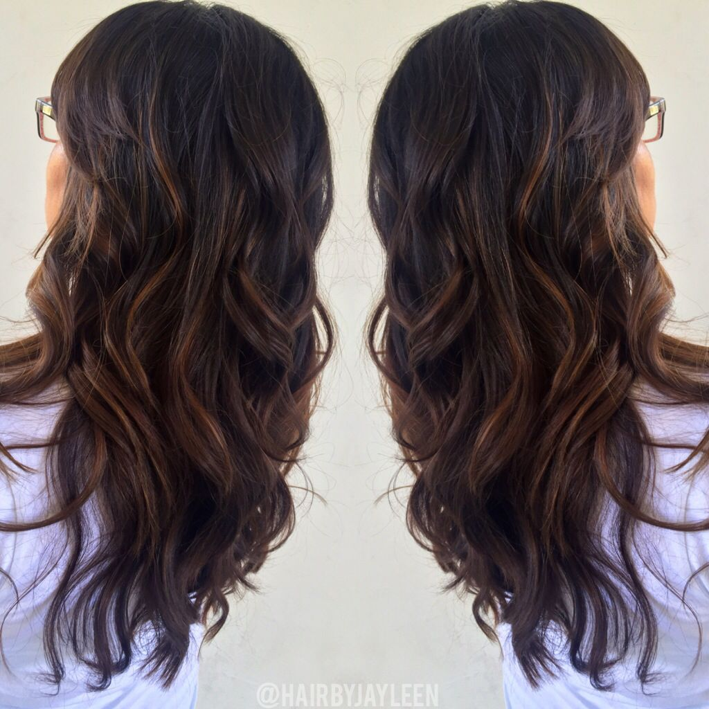 brown caramel balayage highlights chocolate haircolor warm brown hair brunette hair painting. Black Bedroom Furniture Sets. Home Design Ideas