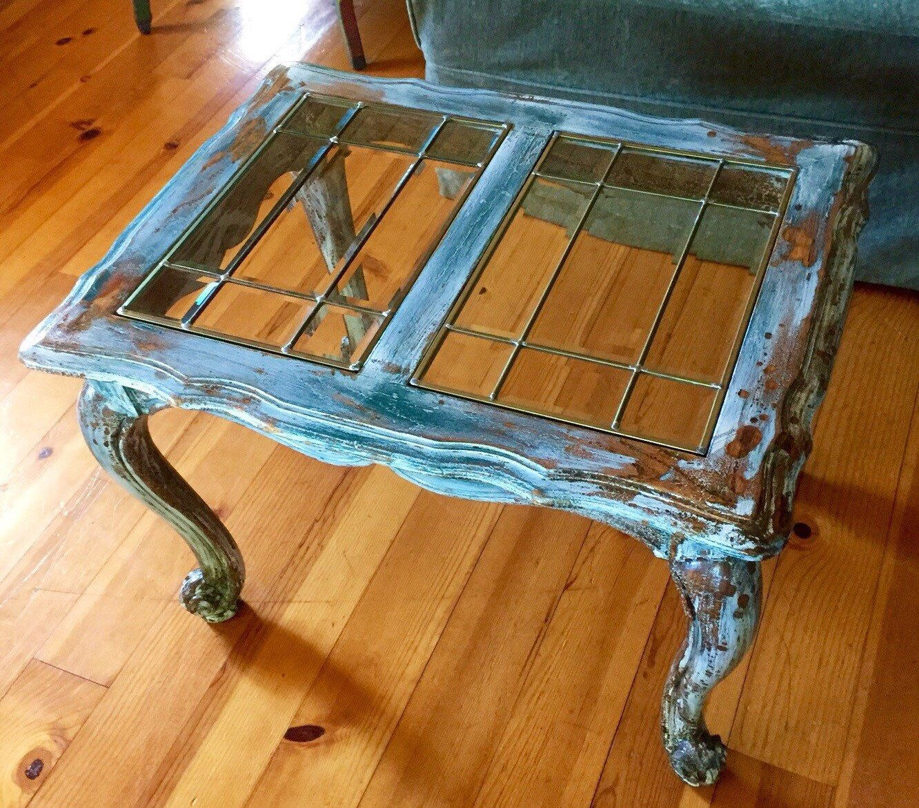 french antique coffee table, leaded glass top coffee table