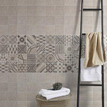 Carrelage mural décor Elliot en grès cérame émaillé, gris, 15 x 15 - carrelage salle de bain petit carreaux
