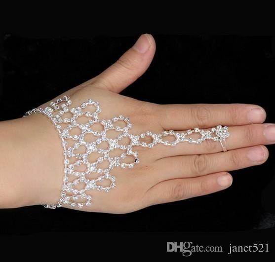 2017 Wedding Jewelry Rhinestone Finger Ring Hand Harness Bangle Bridal Bracelets