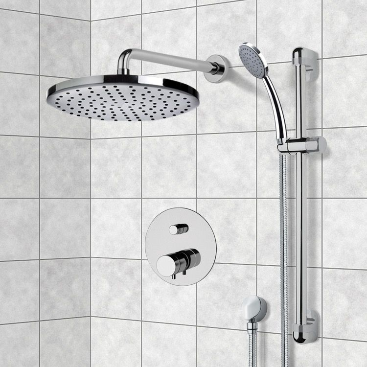 Chrome Thermostatic Shower System With 8 Inch Rain Shower Head And Hand Shower Shower Heads Rain Shower Head Shower Fixtures
