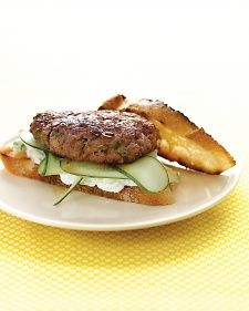 Lamb Burgers with Feta Sauce and Cucumbers  I used 1lb of meat. I combined it with another recipe (Merguez Lamb Burgers) and added 1Tbs garlic, 1/4 c cilantro, a splash of red wine 1/2 tbs paprika, 1tsp cumin, 1tsp salt, 1 tsp salt, 1/2 tsp cayenne, 1/4 tsp cinnamon~KP