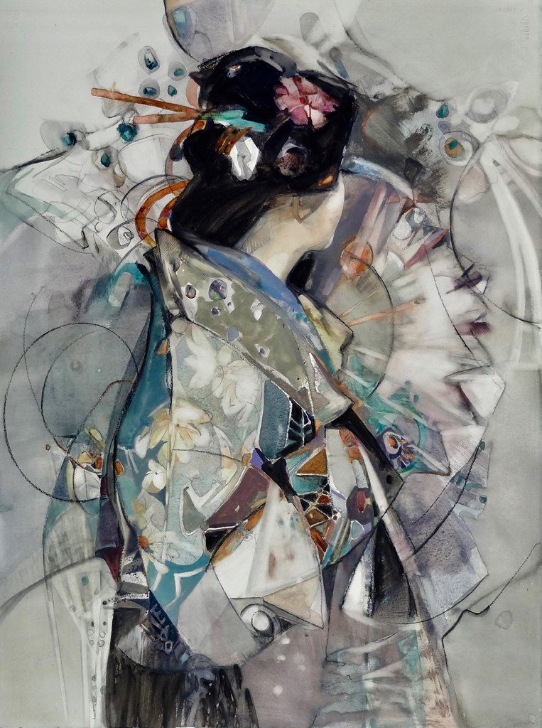 Oconnor Carla Allure Of Kimono Watercolor And Gouache 30 X