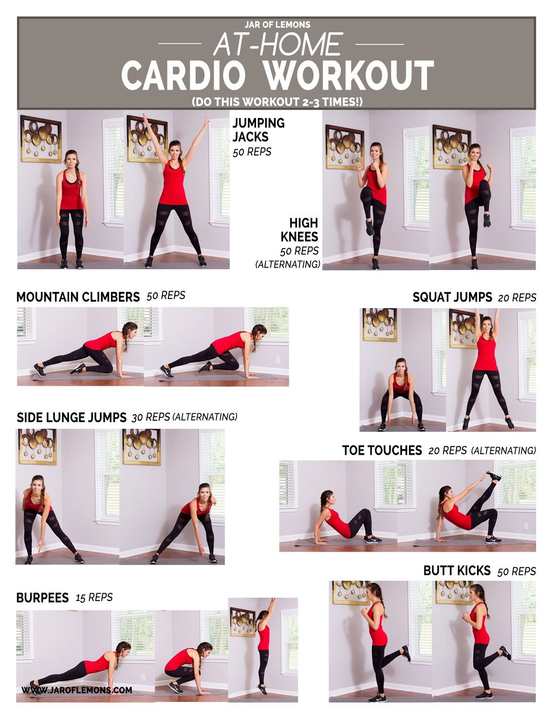 At Home Cardio Workout Head Over To Jar Of Lemons For The Full Printable