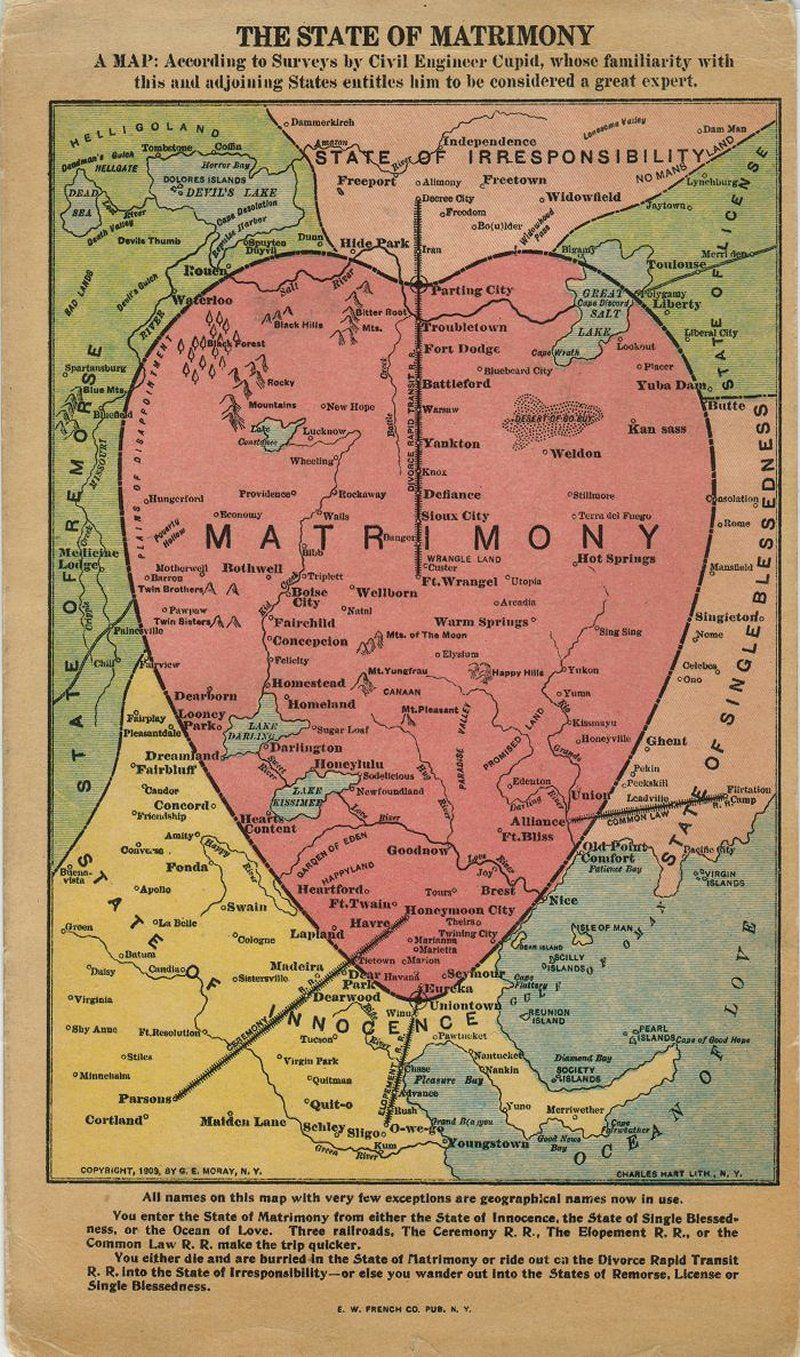 Matrimonial Maps Chart the Delights and Perils of Marriage | Atlas Obscura