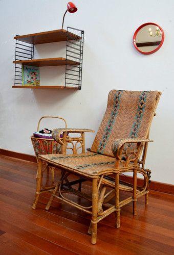 Chaise longue ancienne en rotin fin 19ème vintage | Chaise ...