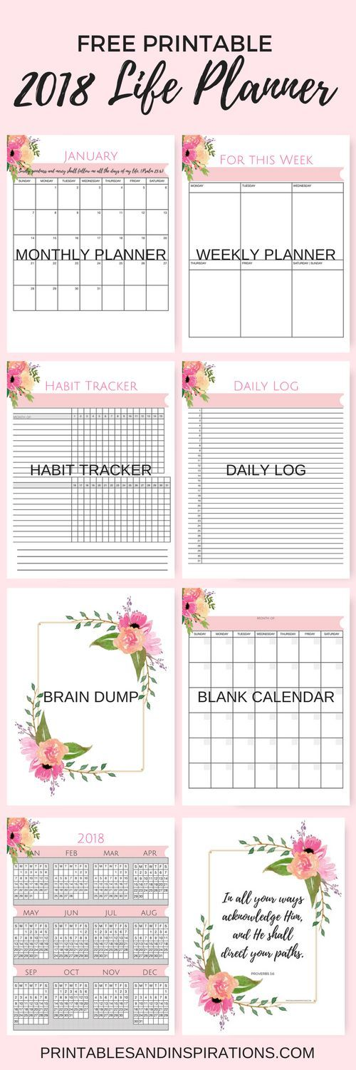 Free Printable 2018 Life Planner (Not Just A Pink Calendar