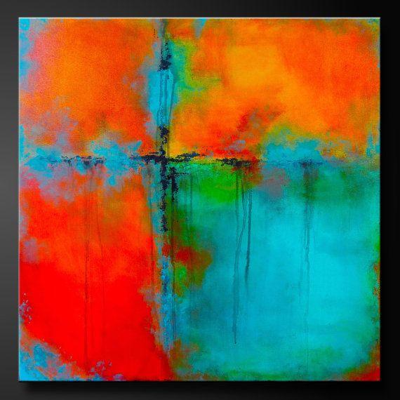 Quatre carr s peinture acrylique abstraite 30 x 30 for Peinture contre la rouille