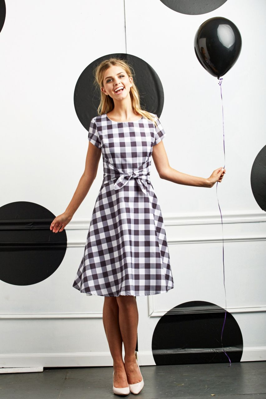 23fca70f404 black and white gingham dress with a tie Gingham Dress
