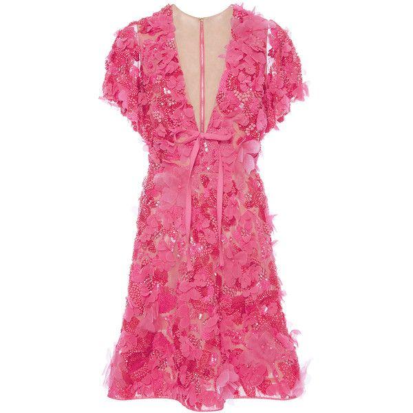 Elie Saab Embroidered Tulle V-Neck Dress (32.335 BRL) ❤ liked on Polyvore featuring dresses, short sleeve mini dress, floral skater skirt, embroidered dress, flared mini skirt and mini dress