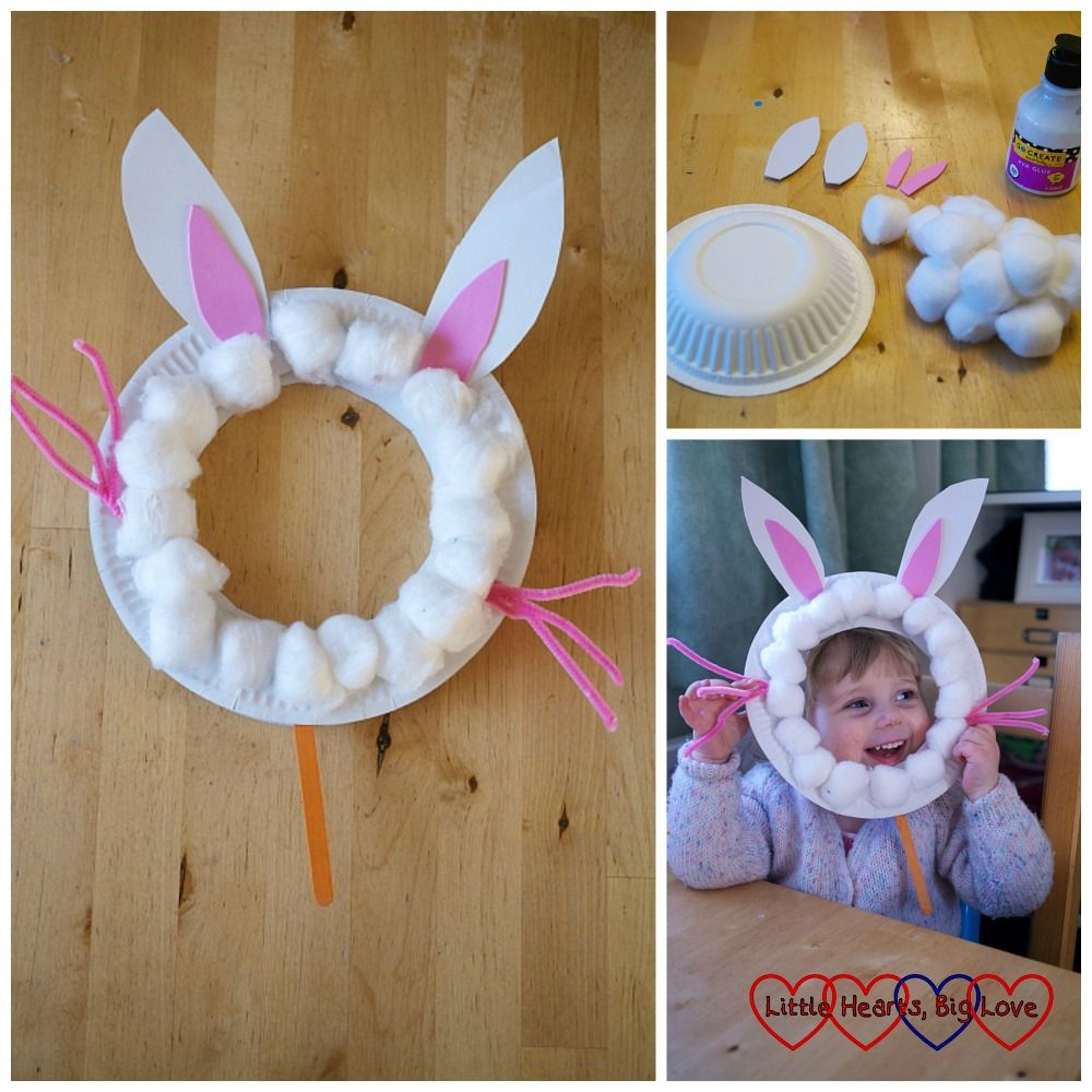 Paper plate bunny rabbit masks - Easter crafts for toddlers and preschoolers - Little Hearts, Big Love
