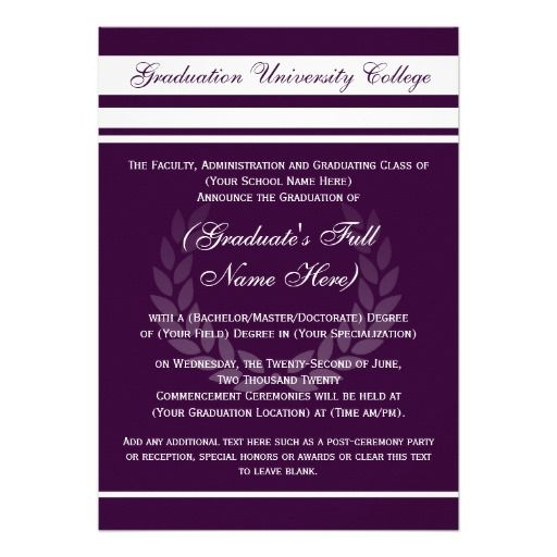 Formal college graduation announcements purple college graduation formal college graduation announcements purple stopboris Gallery