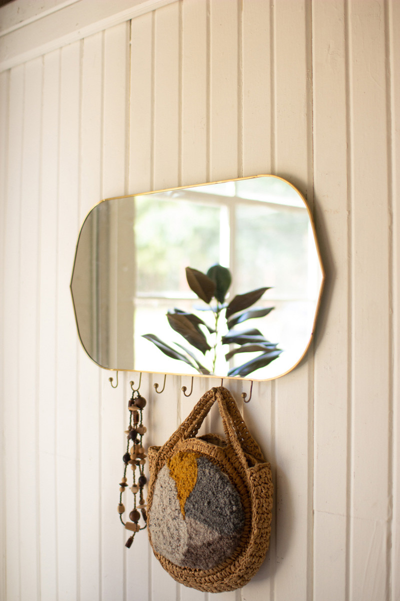 Horizontal Oval Brass Framed Mirror With Six Hooks Brass Frame Horizontal Mirrors Mirror Frames