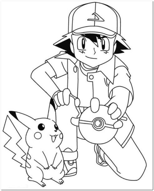 Ash and pikachu coloring pages coloring board for Ash and pikachu coloring pages
