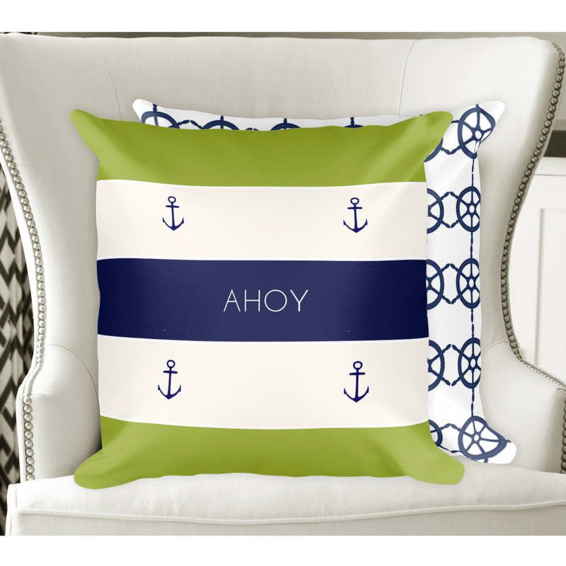 Navy Lime Green Anchor Cushion,Nautical Cushion,Nautical Pillow,Anchor  Pillow,Home Decor,Homeu0026Living,Pillow Outdoor Scatter Cushion Pillow