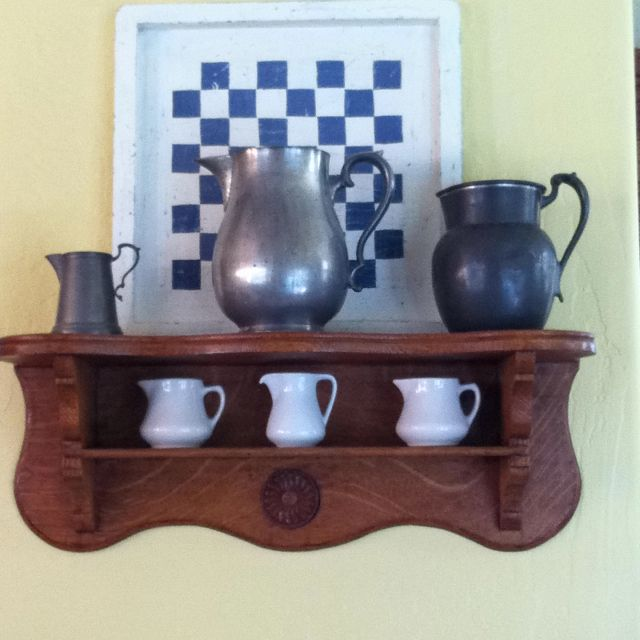 My Country Cottage Collection Of Vintage/antique Pewter, Creamers, Antique  Shelf,