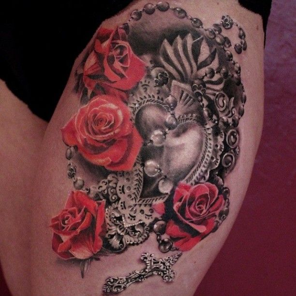 Herz Rosen Kreuz Tätowierung | Tattoo | Pinterest | Kreuz ...