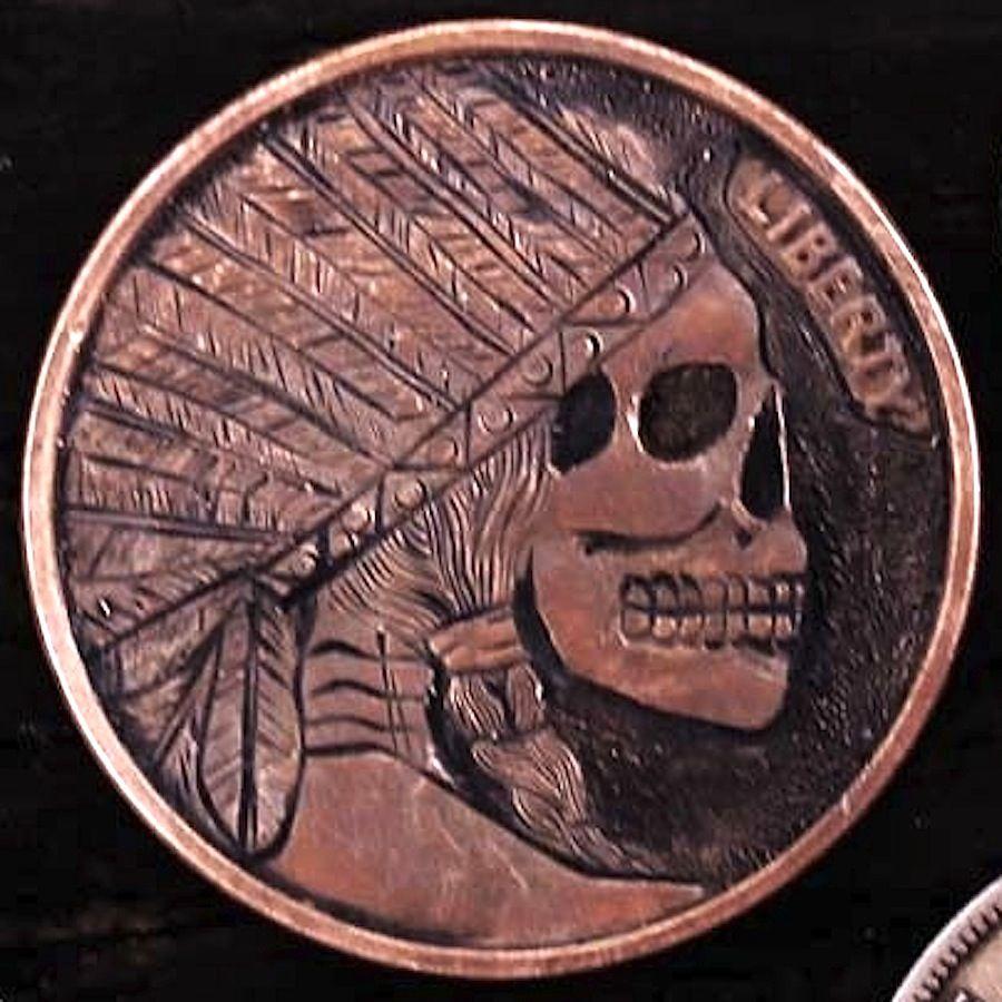 Coalburn Hobo Nickel  skull on 1 oz silver round