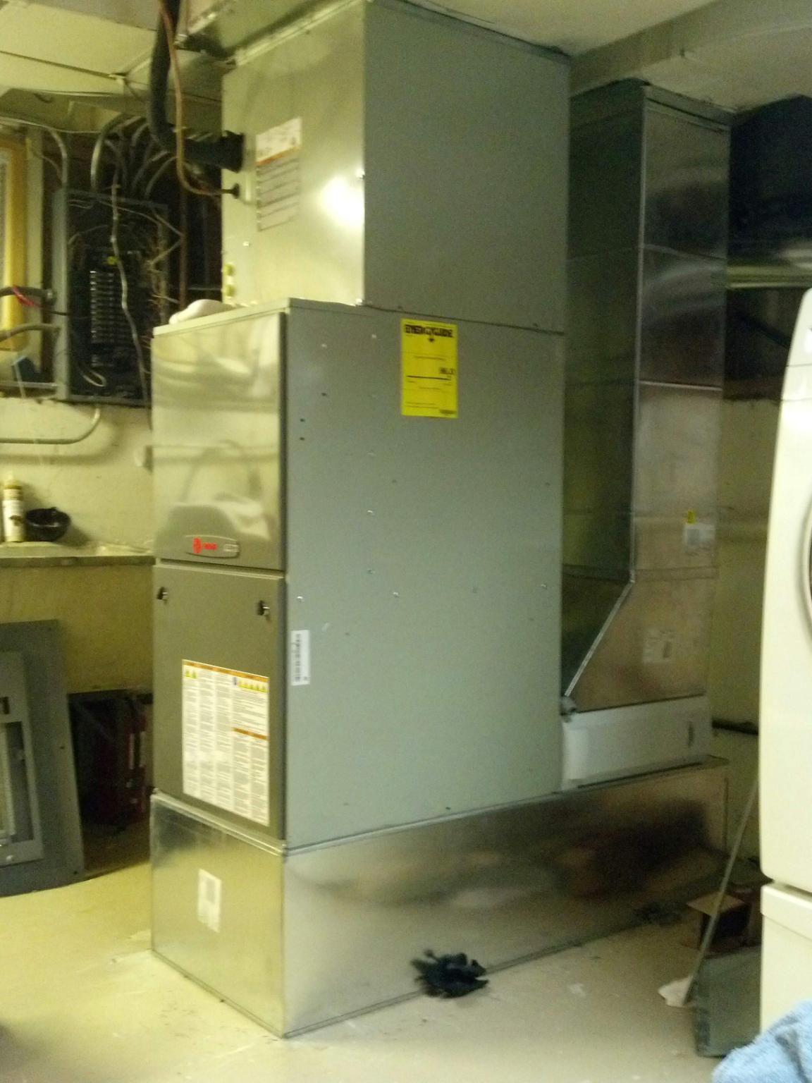 (side view) Trane XC95m Modulating furnace with a custom