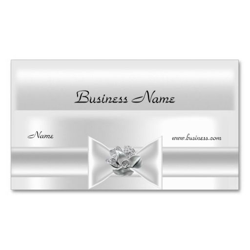 Elegant White Silk Silver Bow Jewel Business Card