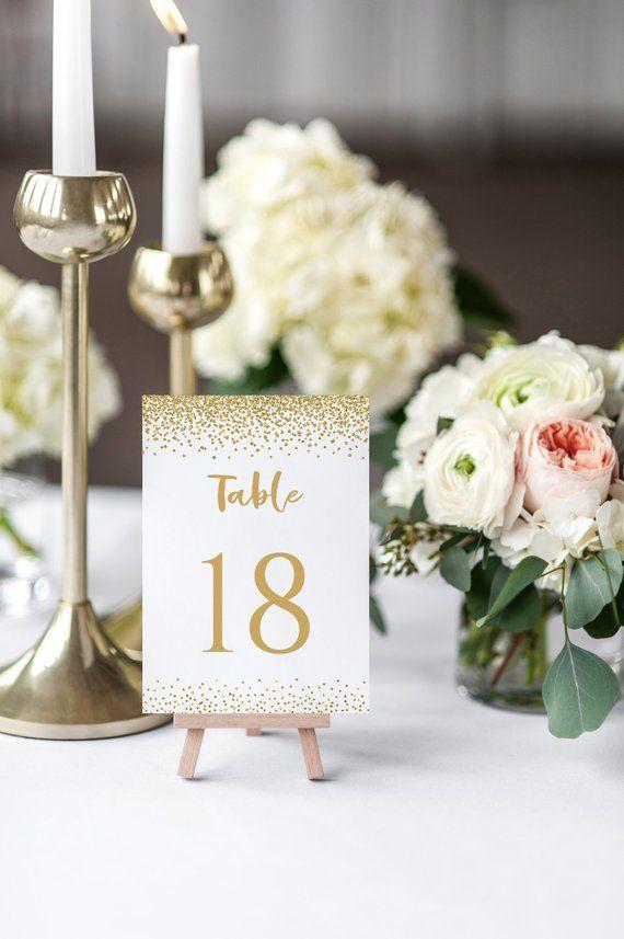 Strange 4X6 Gold Wedding Table Number Cards Templates Instant Interior Design Ideas Clesiryabchikinfo