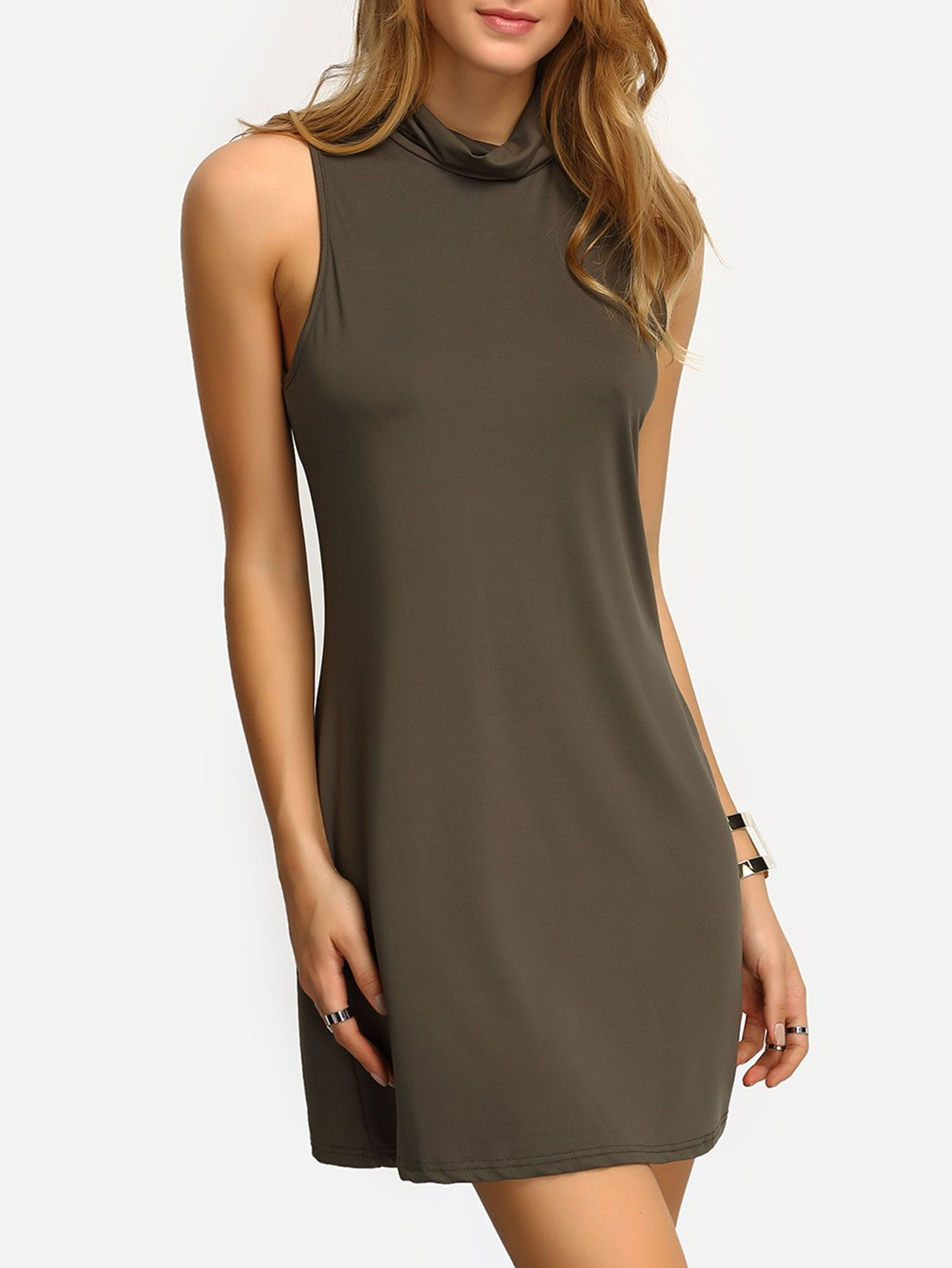 Olive green high neck tank dress party perfect airctb