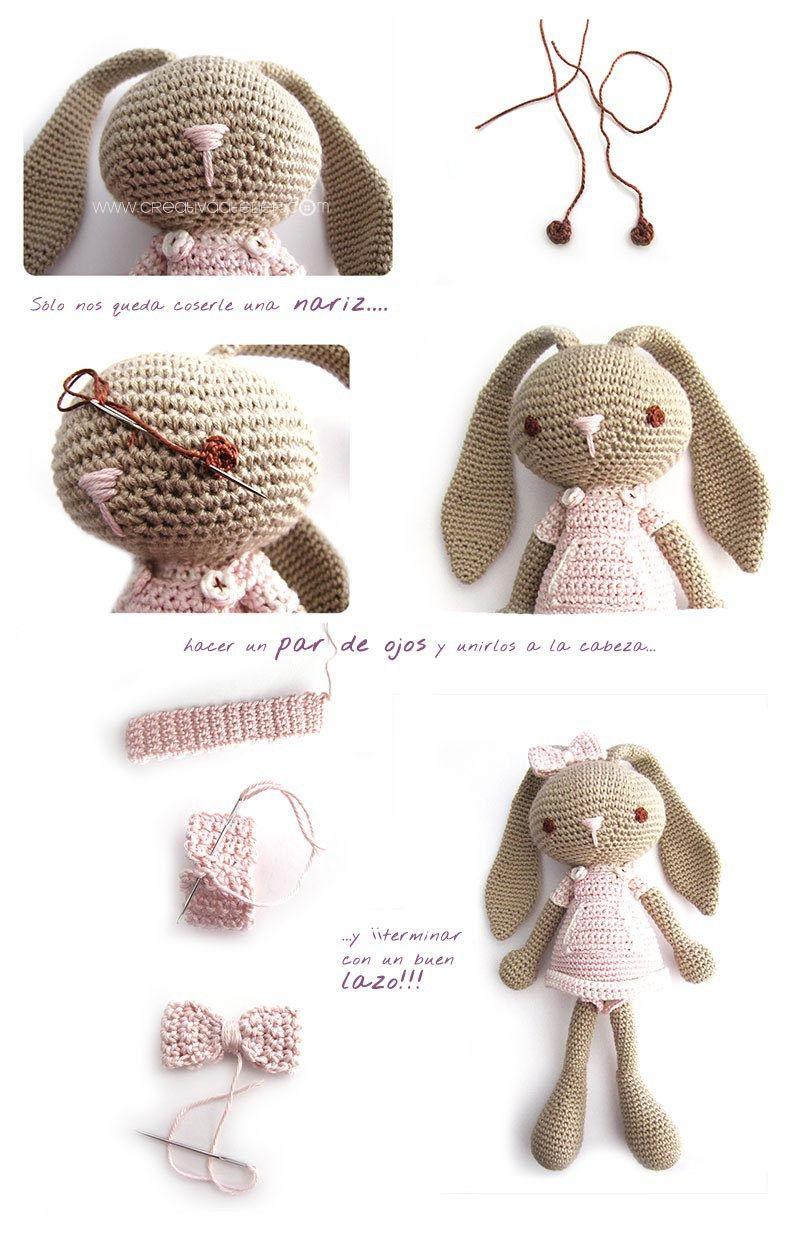 Peluche de crochet conejita de orejas largas - Amigurumi | Amigurumi ...
